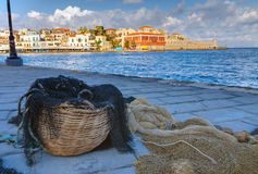 Fishing net in the port of Chania. Greece stock photo