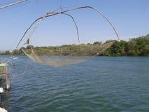 Fishing net on river Bojana stock images