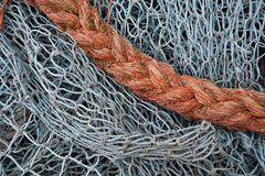 Fishing net and rope Royalty Free Stock Photo
