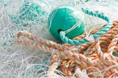 Fishing net and ropes Royalty Free Stock Images