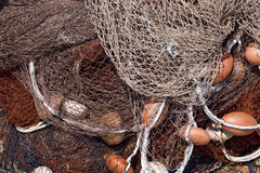 Fishing Net with Ropes and Floats Royalty Free Stock Photos