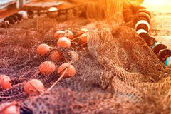 Fishing net with round floats. Fishing net green with round floats orange. The network is old and lying on the ground royalty free stock photography