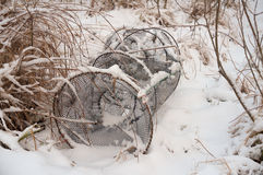 Fishing net in the snow Royalty Free Stock Photography
