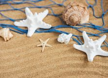 Fishing net with starfish stock photo