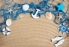 Fishing net with starfish stock photos