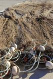 Fishing net tackle over soil traditional fishery Royalty Free Stock Photos
