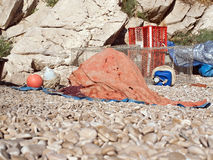 Fishing net and traps on beach Royalty Free Stock Images
