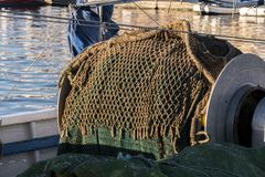 Fishing net of a trawler, in the port of Santa Pola. Alicante, Spain Royalty Free Stock Images