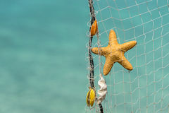 Fishing net on a tropical beach background Royalty Free Stock Photography