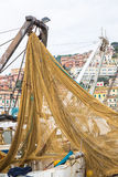 Fishing net. On fishing vessels stock photo