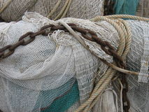Fishing net. White and blue collection of fishingnets Royalty Free Stock Photography