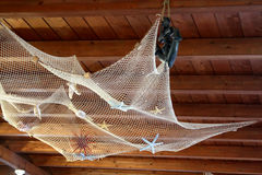 Fishing Net On Wood Ceiling Stock Photo