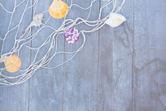 Fishing net on wooden background Stock Images