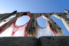 Fishing Nets. To dry in the sun Camogli Royalty Free Stock Photo