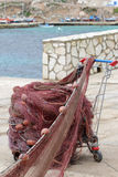 Fishing nets. Cart used for carrying fishing nets Stock Photo