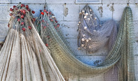 Fishing nets. Hanging to dry royalty free stock photography