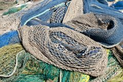 Fishing nets. On the ground for review Stock Photos