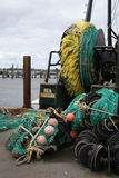 Fishing Nets. Commercial fishing boat at the dock readying its nets Stock Photography