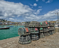 Fishing nets. & Arbroath Harbour, Cornwall royalty free stock images
