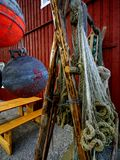 Fishing nets. Drying in the harbour of village A in Lofoten island Stock Image