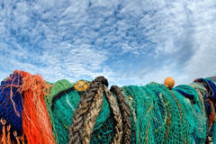Fishing Nets And Alto-cumulus Clouds Stock Photo