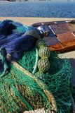 Fishing nets background in the port. Of Santa Pola, Alicante Royalty Free Stock Images