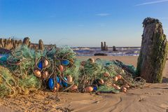 Fishing nets on the beach, Walberswick Stock Photos