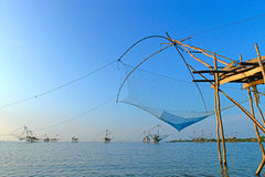 Fishing nets at blue sky background Royalty Free Stock Image
