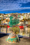 Fishing nets and blue sky in vivid brilliant colours in HDR Stock Image