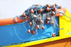 Fishing nets on a boat Royalty Free Stock Photo