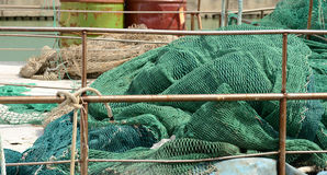 Fishing nets on a boat Royalty Free Stock Image