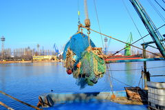 Fishing nets on boat Royalty Free Stock Photos