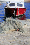 Fishing nets and boat with shallow DoF Stock Photos