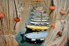 Fishing nets and boats Stock Image