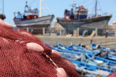 Fishing Nets and Boats Royalty Free Stock Photography