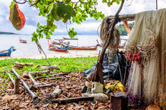 Fishing nets & boats, Rawai beach, Phuket, Thailand Royalty Free Stock Photography