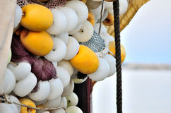 Fishing nets and buoys Stock Images