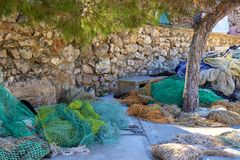 Fishing nets in Cala Figuera, Mallorca. Fishing nets lying in Cala Figuera in Mallorca Stock Image