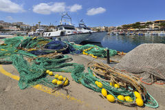 Fishing nets in Cala Rajada harbour, Mallorca, Spain, Royalty Free Stock Images