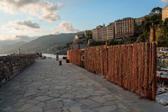 Fishing nets, Camogli in Liguria. Fishing nets drying in the sun to dry Royalty Free Stock Photos