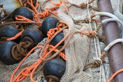 Fishing nets with chains and ropes Royalty Free Stock Photos