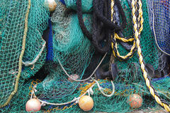 Fishing Nets 1. Fishing nets collected at fishing village Stock Photo