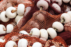 Fishing nets with corks. Royalty Free Stock Photography
