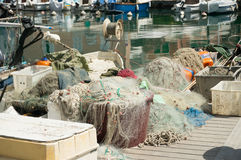 Fishing nets on the dock Stock Photos
