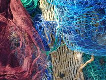 Fishing nets on the dock royalty free stock photo