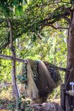 Fishing nets drying on the beach. Village of fishermen on the Bali. stock image