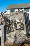 Fishing nets drying on the docks royalty free stock images