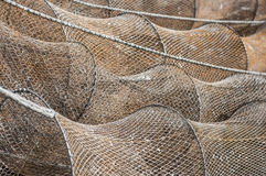 Fishing nets. Drying in the harbor Royalty Free Stock Photos