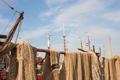 Fishing nets drying in the sun Stock Images
