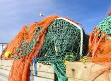 Fishing nets. And ropes in a container stock photos